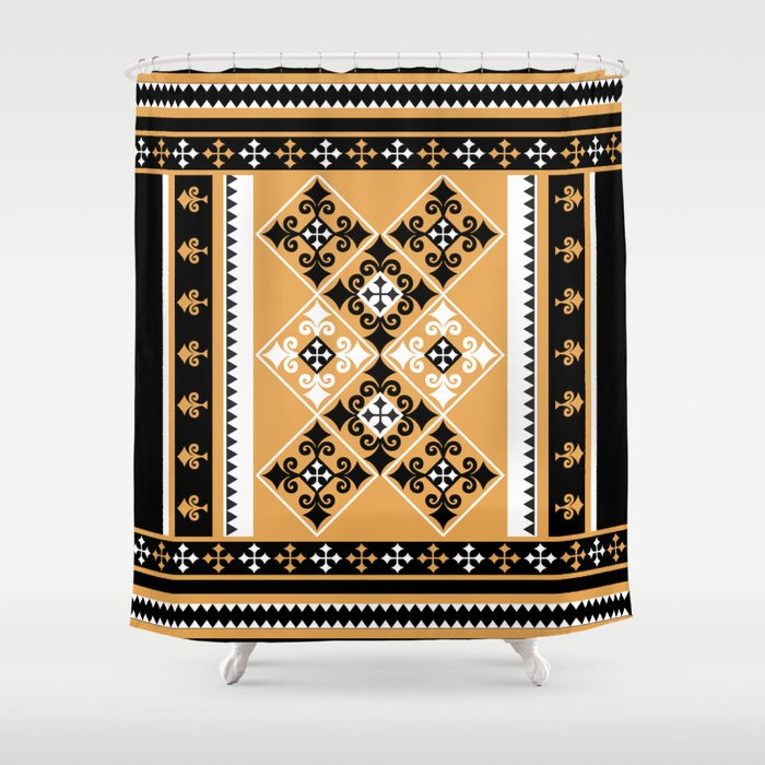 T Pattern Black And Yellow Shower Curtain By Naxy Society6