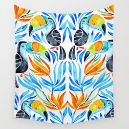 Tropical Toucans – Blue Leaves Wall Tapestry
