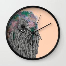 Dredlock Dog (Pastel Orange Edition) Wall Clock