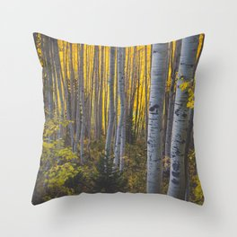 Duos of Aspens in a Yellow Colorado Autumn Forest Throw Pillow