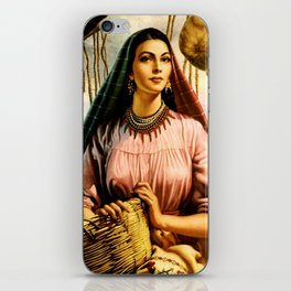 Jesus Helguera Painting of a Mexican Fisher Girl With Basket iPhone Skin