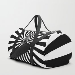 BLACK AND WHITE OPTICAL ILLUSION - SPIRALS INTO THE CENTRE Duffle Bag