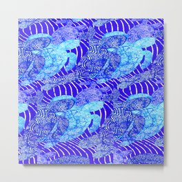 blue sea turtles Metal Print