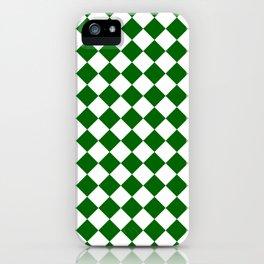 Diamonds - White and Dark Green iPhone Case
