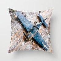 airplane Throw Pillows featuring Airplane by Mauricio Santana