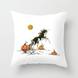 Inky Unicorn with Pumpkins Throw Pillow