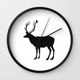 Black & White - Buck and Bird Wall Clock