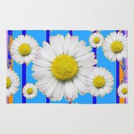 Modern Art Blue Shasta Flowers Pattern Rug