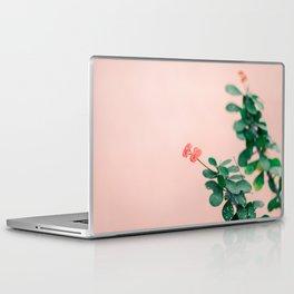Floral photography print | Green on coral | Botanical photo art Laptop & iPad Skin