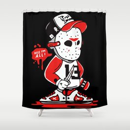 Jason Voorhees Kill I'm All Party Time Halloween Shower Curtain