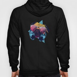 Pug Dog Dj Music 80's Design Hoody
