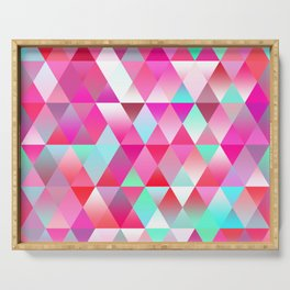 Chic Bright Pink Colors Funky Retro Triangles Mosaic Pattern Serving Tray