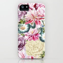 Vintage & Shabby chic -  Retro Spring Flower Pattern iPhone Case