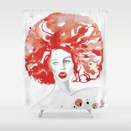 Mama Ru with a Huge Red Wig Shower Curtain