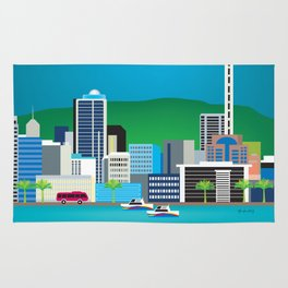 Auckland, New Zealand - Skyline Illustration by Loose Petals Rug