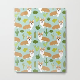 Corgi welsh corgi pattern print cute dog art pattern design pet portrait corgi puppy lovers fur baby Metal Print