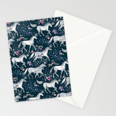Unicorns and Stars on Dark Teal Stationery Cards