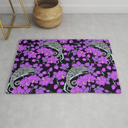 Chameleons and orchids (Gothic) Rug