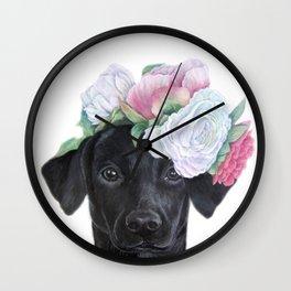 Labrador Retriever Black with Flower bouquet Wall Clock