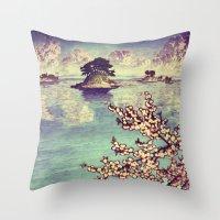 sunset Throw Pillows featuring Watching Kukuyediyo by Kijiermono
