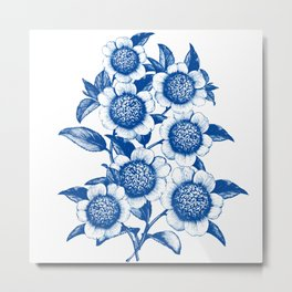 Blue large floral pattern Metal Print