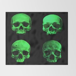 Skull quartet green Throw Blanket