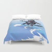 squirtle Duvet Covers featuring WATERBENDING SQUIRTLE by DROIDMONKEY