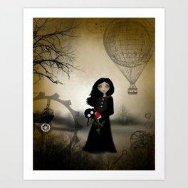 Every Rose Has It's Thorn Dark Steampunk Goth Girl Art Art Print