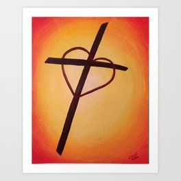 Heart Cross on Orange Art Print
