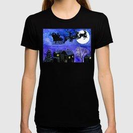 Flying Santa in watercolor T-shirt