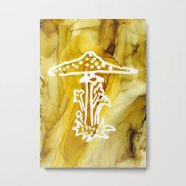 Gold Cap Mushroom Metal Print