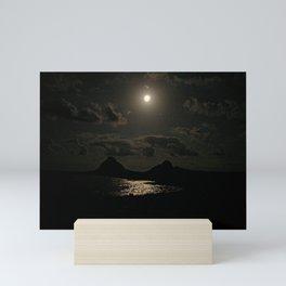 Full Moon Moonlight Sea Beach Cliffs Landscape Mini Art Print