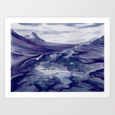Icelandic Landscape (Blueberry/Bláber Painting)  Art Print
