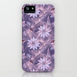 The floral pattern. Lilac flowers on abstract background. iPhone Case