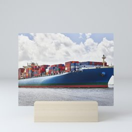 A massive container ship plies the Savannah River in Savannah Georgia Mini Art Print