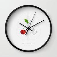 half life Wall Clocks featuring HALF (cherry) LIFE by Nillustra™