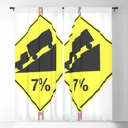 """""""Hill with 7% grad"""" - 3d illustration of yellow roadsign isolated on white background Blackout Curtain"""