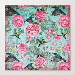 Vintage Watercolor hummingbird and English Roses Canvas Print