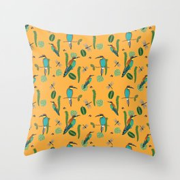 European bee-eater a pattern with birds, dragon flies, bees and plants (yellow) Throw Pillow