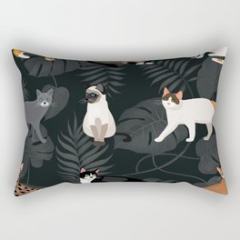 Set of vector cats depicting different breeds and fur color standing sitting and walking Rectangular Pillow