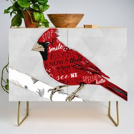 Cardinal Bird Lost Loved One Visiting Credenza