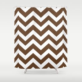 Van Dyke brown - brown color - Zigzag Chevron Pattern Shower Curtain