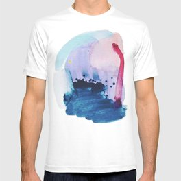 PYT: a minimal abstract mixed media piece on canvas in blues, pink, purple, and white T-shirt