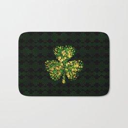 Decorative Irish Shamrock -Clover Gold and Green Bath Mat