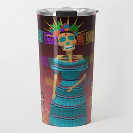 Pink Ómbre Day of the Dead Travel Mug