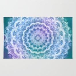 White Mandala on Teal, Purple and Navy Rug