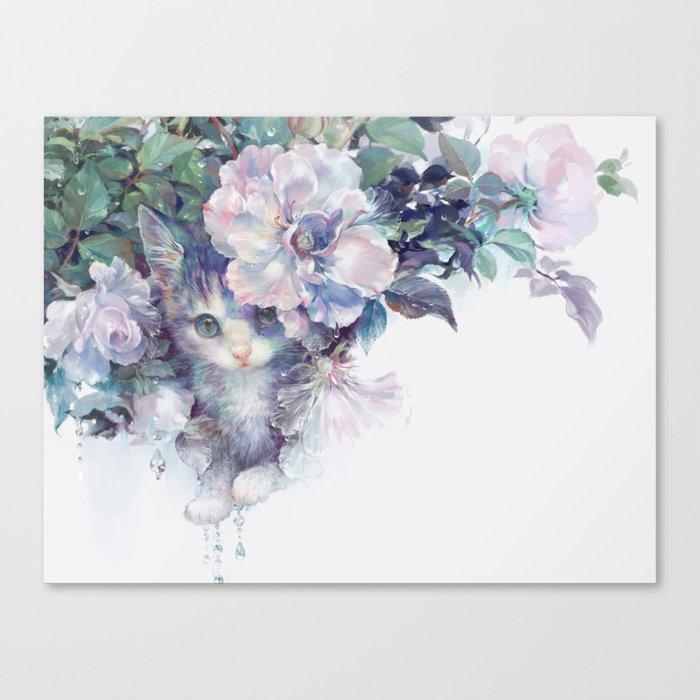 secret behind flowers Canvas Print