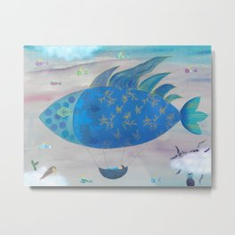 Flying Fish in Sea of Clouds with Sleeping Child Metal Print