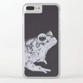 Charcoal Drawing of a Toad or Frog Clear iPhone Case