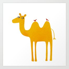 Camel with Birds Art Print
